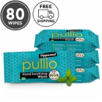(80 Wipes) pullio - Peppermint Alcohol Free Antibacterial Hand Sanitizer Wet Wipes