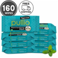 (160 Wipes) pullio - Peppermint Alcohol Free  Antibacterial Hand Sanitizer Wet Wipes - 160 Wpes (8 Packs)