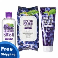 Fresh Food For Skin Triple Cleansing Set Makeup Removers Grape For Oily Skin