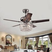 Warehouse of Tiffany CFL-8110 43 in. Angel 3-Light Indoor Hand Pull Chain Ceiling Fan, Brown - 1