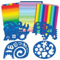 Roylco Double Color Rainbow Paper and Unruly Rulers - 4 Silly Stencils