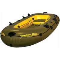 Airhead Angler Bay 4 Person Inflatable Fishing Boat Lake Pond Raft Float, Green