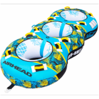 Airhead BLAST 3 Inflatable Open Top 3-Person Towable Water Tube, Tropical Blue - 1 Unit