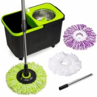 The Clean Store Black and Green Spin Mop with 3 Mop Heads - 1