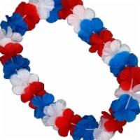 Blinkee A6000 Hawaiian Flower Lei Necklace, Red, White & Blue - 1