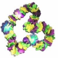 Blinkee 3CHMGFL Hawaiian Mardi Gras Flower Lei Flashing Necklace, Tri Color - 1