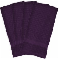 DII Dishtowel Set, Waffle Terry Collection, 15x26-inches, Eggplant