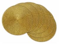 DII Metallic Gold Round Woven Polypropylene Placemat (Set of 6)