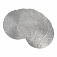 DII Metallic Silver Round Polypropylene Woven Placemat (Set of 6)