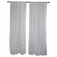 Design Imports CAMZ33457 50 x 84 in. DII White Lace Lattice Window Curtain - Set of 2 - 1