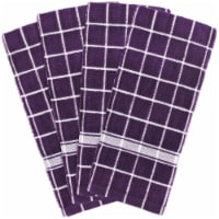 DII Eggplant Solid Windowpane Terry Dishtowel (Set of 4)
