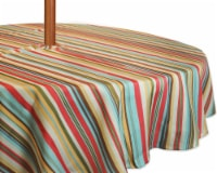 DII Summer Stripe Outdoor Tablecloth With Zipper 60 Round
