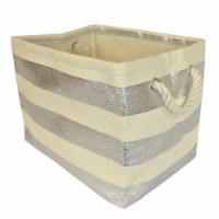 DII Paper Bin Stripe Silver Rectangle Medium - 1