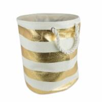 DII Paper Bin Stripe Gold Round Medium - 1