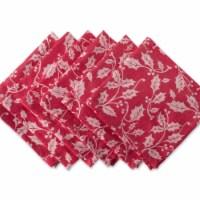 Design Imports CAMZ35860 Holly Flourish Jacquard Napkin Set - Set of 6