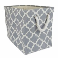 DII Polyester Bin Lattice Gray Rectangle Medium - 1