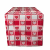 DII Hearts Woven Check Table Runner