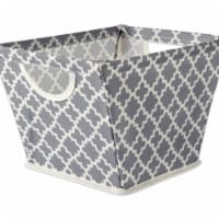 Design Imports CAMZ36944 12 x 9 x 8 in. Lattice Polyester Trapezoid Storage Bin, Grey - Small