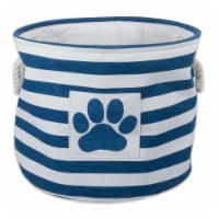 DII Polyester Pet Bin Stripe With Paw Patch Navy Round Small - 1