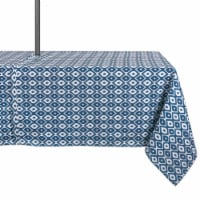 DII Blue Ikat Outdoor Tablecloth With Zipper