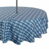 DII Blue Ikat Outdoor Tablecloth With Zipper 60 Round - 1