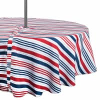 DII Patriotic Stripe Outdoor Tablecloth With Zipper 60 Round