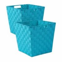 Design Imports CAMZ37523 13x13x13in Trapezoid Nylon Storage Bin Basketweave, Teal-Set of 2 - 1