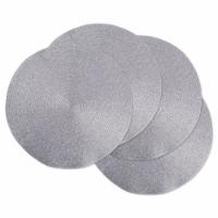 DII Metallic Silver Round Polypropylene Woven Placemat (Set of 4)