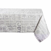 DII Silver Christmas Collage Tablecloth