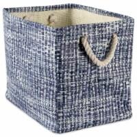 DII Paper Bin Tweed Nautical Blue Rectangle Medium - 1
