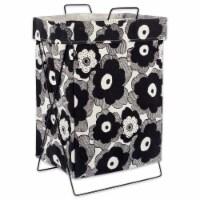 DII Black Big Blooms Metal Frame Laundry Basket - 1