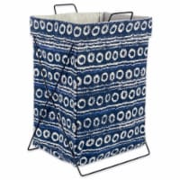 DII Blue Stripes And Circles Metal Frame Laundry Basket - 1