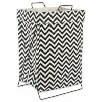 DII Black Chevron Metal Frame Laundry Basket - 1