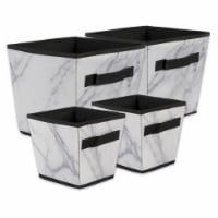 Design Imports CAMZ38243 Polyester Laundry Assorted Storage Bin, Marble White-Set of 4