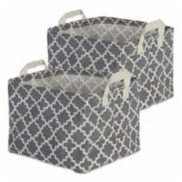 DII Pe Coated Cotton/Poly Laundry Bin Lattice Gray Rectangle Extra Small  (Set of 2) - 1