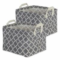 DII Pe Coated Cotton/Poly Laundry Bin Lattice Gray Rectangle Extra Large  (Set of 2) - 1