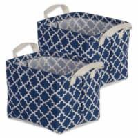 Cotton/Poly Laundry Bin Lattice Nautical Blue  Rectangle Extra Small  (Set of 2) - 1