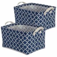 DII Pe Coated Cotton/Poly Laundry Bin Lattice Nautical Blue  Rectangle Large  (Set of 2) - 1