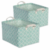 DII Pe Coated Cotton/Poly Laundry Bin Lattice Aqua Rectangle Extra Small  (Set of 2) - 1