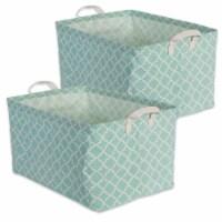 DII Pe Coated Cotton/Poly Laundry Bin Lattice Aqua Rectangle Large  (Set of 2) - 1