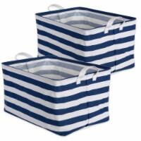 DII Pe Coated Cotton/Poly Laundry Bin Stripe Nautical Blue  Rectangle Large  (Set of 2) - 1