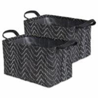 DII Pe Coated Woven Paper Laundry Bin Tribal Chevron Black/White  Rectangle Small  (Set of 2) - 1