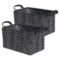 Woven Paper Laundry Bin Tribal Chevron Black/White  Rectangle Medium  (Set of 2) - 1