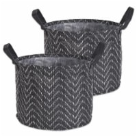 DII Pe Coated Woven Paper Laundry Bin Tribal Chevron Black/White  Round Medium  (Set of 2) - 1