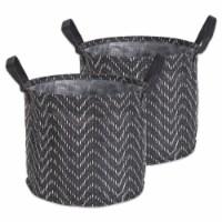DII Pe Coated Woven Paper Laundry Bin Tribal Chevron Black/White  Round Large  (Set of 2) - 1