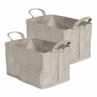 DII Pe Coated Woven Paper Laundry Bin Tribal Chevron Stone/Cream Rectangle Medium  (Set of 2) - 1
