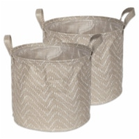 DII Pe Coated Woven Paper Laundry Bin Tribal Chevron Stone/Cream Round Large  (Set of 2) - 1