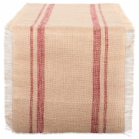 Design Imports CAMZ38410 14 x 108 in. Barn Red Double Border Burlap Table Runner