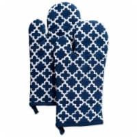 Design Imports CAMZ38485 Nautical Blue Lattice Oven Mitt - Set of 2