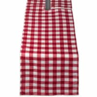 DII Red Check Outdoor Table Runner With Zipper - 1